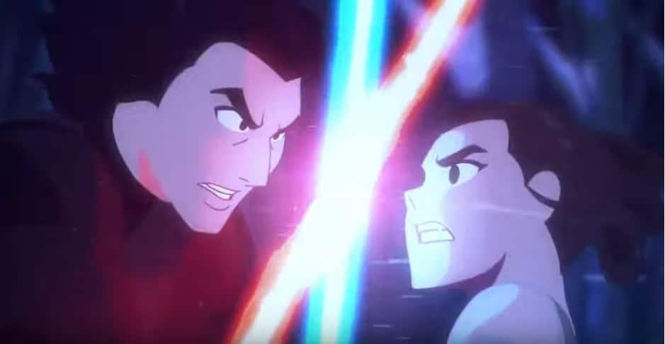 Rey and Finn vs. Kylo Ren Animated Lightsaber Battle